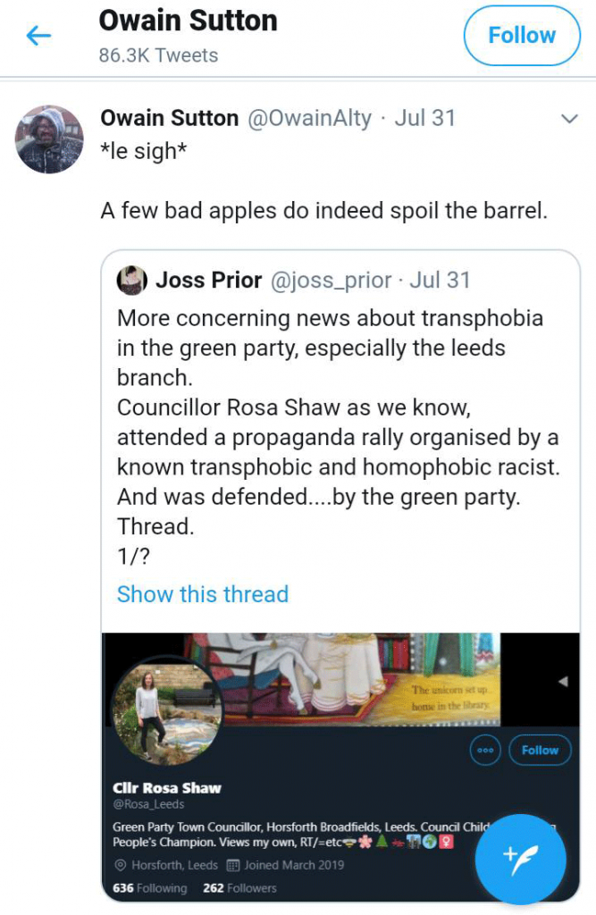 "Owain Sutton tweet describing Counsellor Rosa Shaw as a ""bad apple"""