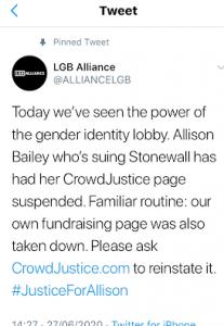 LGB Alliance tweet